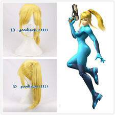 Samus Aran METROID yellow blonde long braid cosplay wig +a wig cap