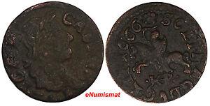Lithuania Johann Casimir Copper 1666  TLB/HKPL Schilling XF Condition KM# 50