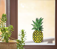 "CLR:WND - Pineapple Stained Glass Style Vinyl Window Decal ©YYDC MD (3""w x 6""h)"