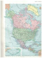 1965 Map of North America - Map of Mexico On Reverse - Nice Insets