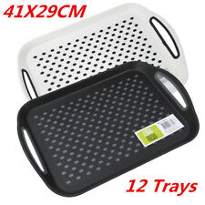 12 X Rectangular Non Slip Plastic Serving Tray Food Tray Rubber Surface 41x29cm