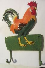 Metal Rooster Key Holder Wall Hanging Decor - signed