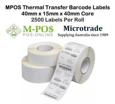 Barcode Labels 40mm x 15mm x 40mm core Thermal Transfer. 2500 labels per roll.