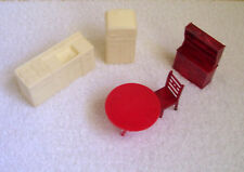 Vtg Dollhouse Kitchen Furniture-Stove/Sink Combo+Fridge+Red Table+Chair+Cupboard