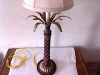 Vintage metal tall pineapple lamp with shade,Retro,Brass,Mid Century Lamp,Rare