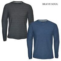 Mens Brave Soul Long Sleeve Crew Neck T-Shirt Cotton Blend Ribbed Casual Top