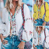 ZANZEA Women Long Sleeve Floral Beach Tops Ladies Casual T-Shirt Blouse Oversize