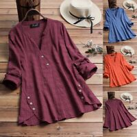 NEW Womens Summer V Neck Long Blouses Loose Casual Tops Tunic T Shirts Plus Size