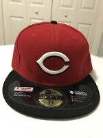 CINCINNATI REDS NEW ERA FITTED MLB BASEBALL HAT - SIZE 7 3/8 BLACK RED