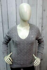 Maglione Ralph Lauren Donna Taglia M Grigio Cotone Sweater Pullover Woman Logo