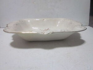 ANTIQUE LARGE HAND DECORATED RECTANGULAR SERVING BOWL MARKED B 2