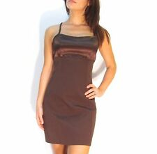 Vintage CACHE Gorgeous Chocolate Brown BOMBSHELL Bodycon Dress M Satin Bust SEXY