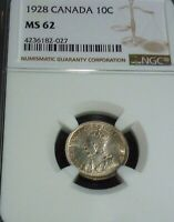 1928 CANADA 10 CENTS NGC MS62  BLAST WHITE ROTATED DIE