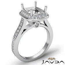 14k White Gold Cushion Cut Semi Mount 0.70ct Diamond Engagement Bezel Ring Halo