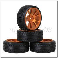 4 x RC 1:10 On-Road-Auto-Kunststoff-Drift Reifen & Gold Legierung 10-Speichen