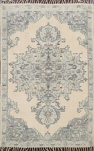 Geometric Beige/Gray Moroccan Oriental Area Rug Hand-Knotted Wool 5'x8' Carpet