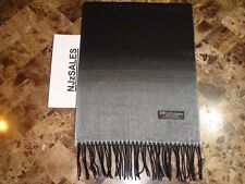 2 PLY 100% CASHMERE Winter Scarf Black White Fade Warm Soft SCOTLAND Wool Unisex