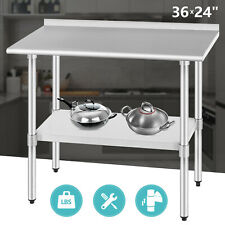 "24"" x 36"" Commercial Stainless Steel Work Prepare Table w/Backsplash Kitchen"