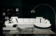 VIG Divani Casa T57 White and Black Bonded Leather Living Room Sectional Sofa