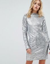 Cheap Monday Sequin High Neck Dress SILVER uk xs