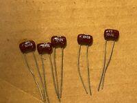 5 NOS Vintage 10 pf 500v Silver Mica Capacitors .00001 uf CDE
