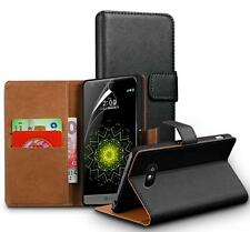 Genuine Real Leather Wallet Stand Case per LG G6 & Screen Guard