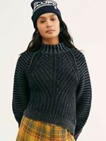 NEW Free People Sweetheart Sweater Chunky Knit Cableknit Black SZ XS XSmall