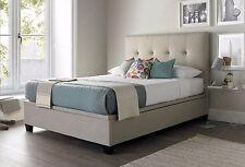 5ft King Size Oatmeal Fabric Upholstered Walkworth Kaydian Static Bed Frame