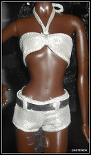 OUTFIT BARBIE DOLL MODEL MUSE ON LOCATION MILAN  SILVER METALLIC 2 PIECE BATHING