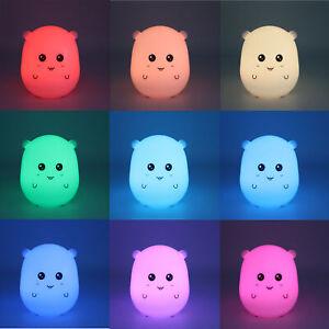 RGB Color Changing Kawaii Night Light LED Hamster Desk Lamp Cute Animal Light