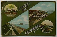 Cleethorpes Greetings Gardens Kingsway Old Clee Church 1950s Postcard (P306)