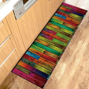 Colored Rustic Barn Planks Kitchen Mat Non-Slip Carpet Bedroom Floor Area Rugs