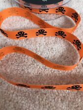 HALLOWEEN RIBBON ORANGE SKULL AND CROSSBONES,BOYS,PIRATES,SEWING,PARTY DECOR