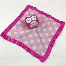 CIRCO Pink OWL Security Blanket LOVEY Baby POLKA DOT Satin MAGENTA Plush TOY