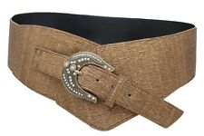 Sexy Women Wide Western Belt Dressy Metallic Bronze Brown Fancy Fabric Size S M