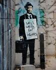 "Banksy graffiti art, Will Work for Idiots, Giclee Canvas Print, 12""x16"""