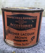 Rare Vintage HARLEY-DAVIDSON Motor Co. 1/4 Pint Oil CAN of Brown Leather Lacquer