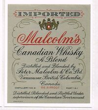1940s Canada Vancouver BC Malcolm Canadian Whisky Label TavernTrove