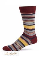 Saks Fifth Avenue Cotton Men's Italy Yellow Brown Stripes Soft Socks Sz 10-13