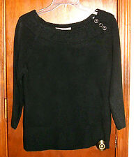 NWT $44 Black Soft Knit Cowl Neck 3/4 Sleeve Sweater Top with Button Accents-M*