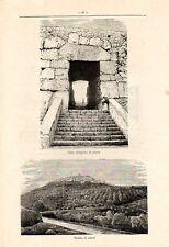 Stampa antica ALATRI veduta panoramica e mura ciclopiche Frosinone 1885