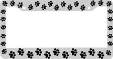 WHITE FRAME PAW PRINTS DOG CAT CRITTER PET License Plate Frame