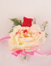 Pin Corsage:Peony,Ivory Hot Pink  Wedding Bridal Prom Quinceanera sweet 16