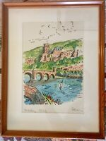 Original Signed Watercolor Of Bridge  Heidelberg Germany Circa 1950's