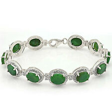 Elegant Bracelet W/Genuine Diamond & Emerald Platinum Over 925 Sterling Silver