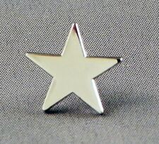 Silver Star Pin Badge Merit Chrome Rhodium Finish Brooch Metal Enamel Lapel