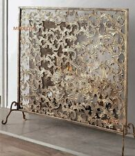 French Tuscan Windsong Acanthus Leaf Antique Gold Iron Fireplace Fire Screen