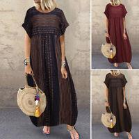 ZANZEA Women Crew Neck Short Sleeve Shirt Sundress Kaftan Long Maxi Dress Plus