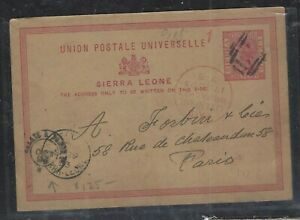 SIERRA LEONE COVER (P1501B)  1893 QV 1D PSC FR BOAT CANCEL,RED LIVERPOOL TO UK
