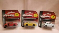 MAJORETTE X3 NEW OUT,YELLOW PORSCHE,RED AUDI R8,WHITE AND RED FIAT 500,ALL MINT.